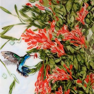 Hill&Stump - Orange Honeysuckle with Hummingbird