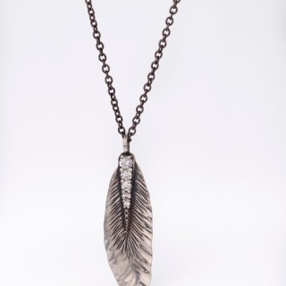 Alexandra Hart - Silver Leaf Necklace with diamond encrusted stem
