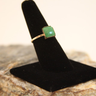 Green Square Bead Ring