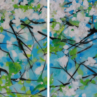 White Blossoms Diptych