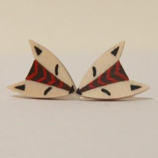 Black Center with Red Stripe Fox Earrings