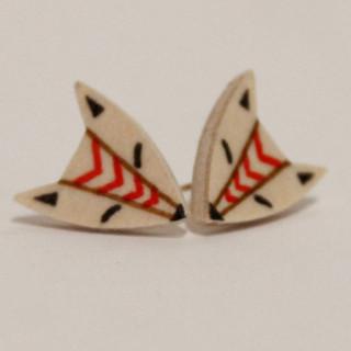 Red Stripe center Fox Earrings
