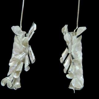 Curled Vertical Silver Earrings