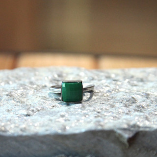 Green Square Nailhead Ring