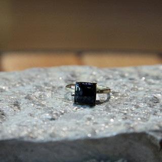 Black Square Nailhead Ring