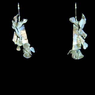 Vertical silver curled hook earrings