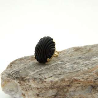 Black textured Oval ring
