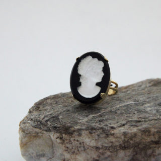 Black and White Cameo Ring