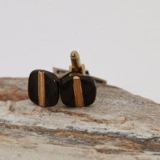 Black with Gold Stripe Cufflinks