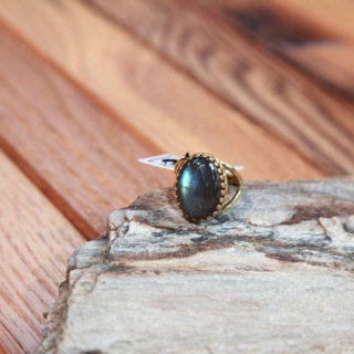 Labradorite Stone Crown Ring