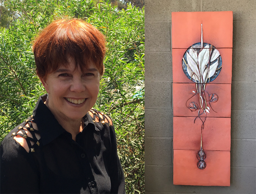 """Sculptor Joyce Schleiniger and """"Birth of Nature"""" as seen in the Southern California Sculpture exhibition"""