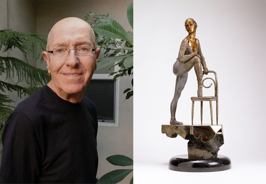 """Sculptor Victor Fisher and his piece from the Souther California Sculpture exhibition """"Stephanie"""""""