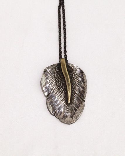 Alexandra Hart - Sliver Leaf Necklace with Gold Stem