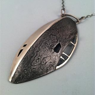 PityFab - Damascus Long Shield Necklace