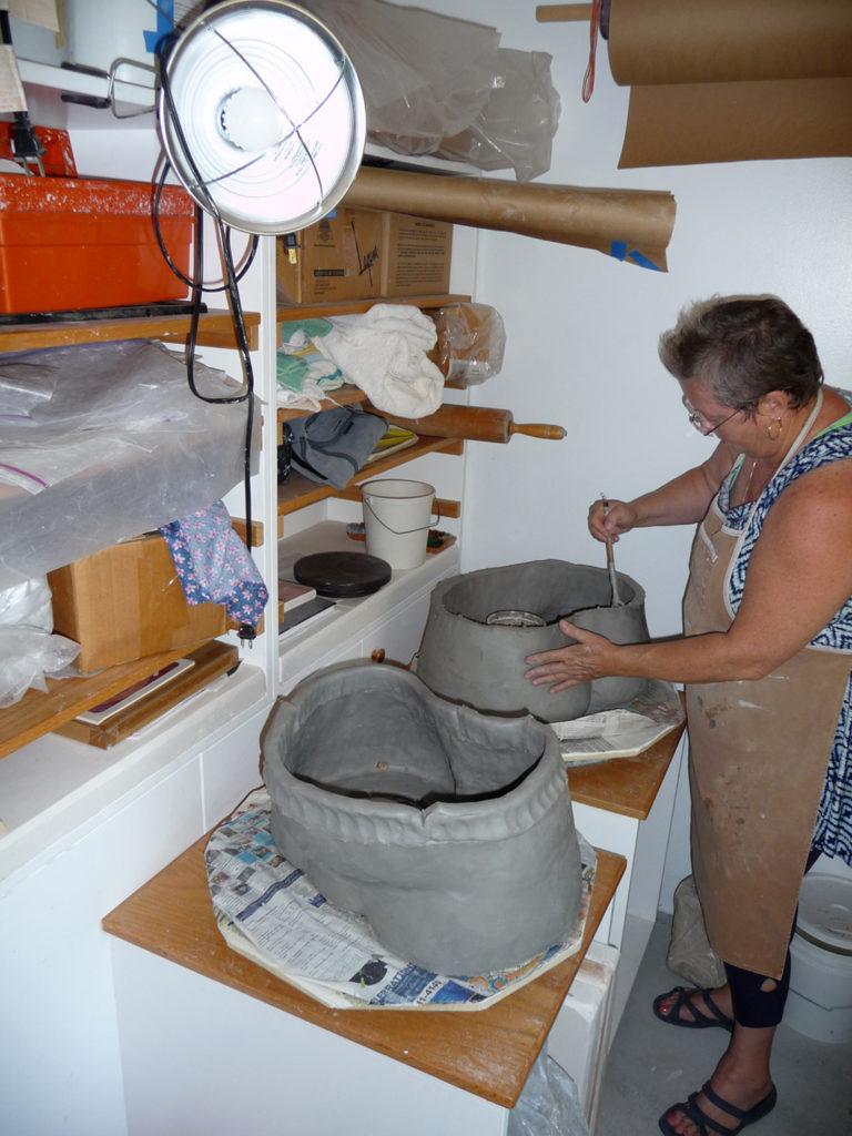 Linda Litteral working in studio