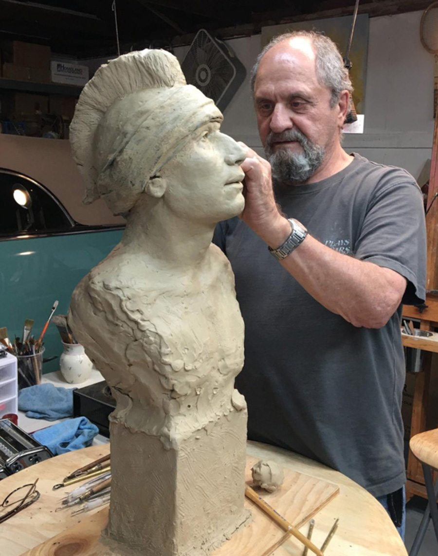 Sculptor Dino Mehaffie at Work