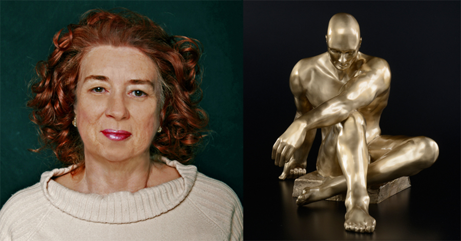 "Sculptor Linda Serrao and ""Atlas"" as seen in the Southern California Sculpture exhibition"